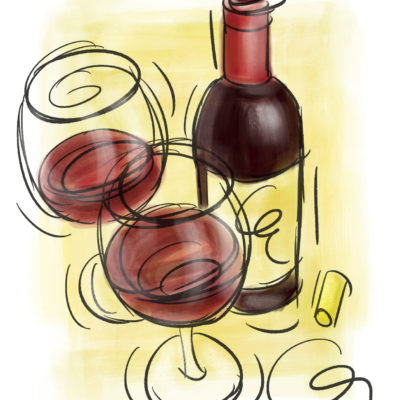 Wine Bottle and wine glasses