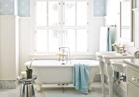 clawfoot tub shower bathroom